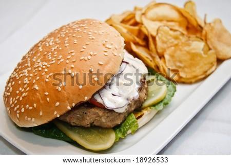 Hamburger with fried potatoes chips - stock photo