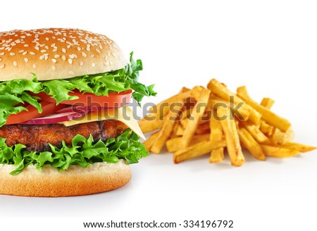 Hamburger with fries isolated on white background. Close up.
