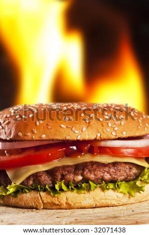 hamburger with onions tomato and ketchup - stock photo