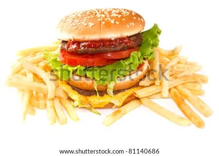 hamburger with potatoes isolated on white background - stock photo