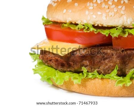 hamburger with vegetables on white background - stock photo