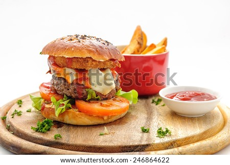 Hamburger witn french fries  - stock photo