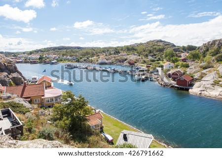 HAMBURGSUND, SWEDEN, AUGUST 2014, a sunny day on the swedish west coast with people out boating.