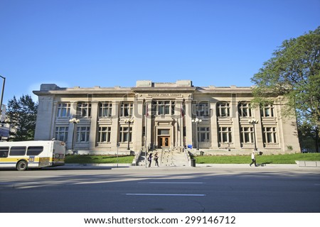 HAMILTON, ONTARIO - JULY 20, 2015: Public Library of Hamilton. Hamilton is the centre of a densely populated and industrialized region at the west end of Lake Ontario  - stock photo