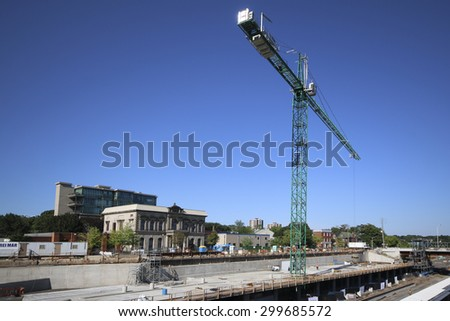 HAMILTON, ONTARIO - JULY 20, 2015: The building of the West Harbour GO Station. Hamilton is the centre of a densely populated and industrialized region at the west end of Lake Ontario  - stock photo