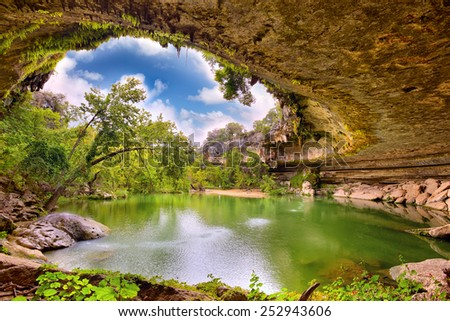 Hamilton Pool sink hole, Texas, United States - stock photo