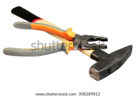 Hammer and flat-nose pliers - stock photo