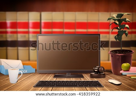 Hammer and gavel against close up of big books - stock photo