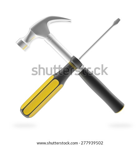 Hammer and screwdriver isolated on white background. Tools for the job. 3d illustration High resolution - stock photo