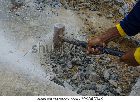 Hammer hitting the floor,Thailand - stock photo