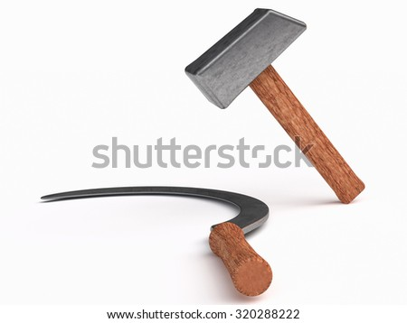 hammer  industrial labourers and sickle for peasantry symbol Communist parties; Farm and worker instruments and tools have long been used as symbols for proletarian struggle. - stock photo