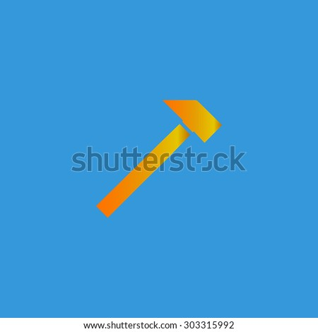 Hammer. Simple flat icon on blue background - stock photo