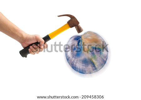 hammer threatening planet earth isolated on white background. Some components of this montage are provided courtesy of NASA, and can be found at http://visibleearth .nasa.gov - stock photo
