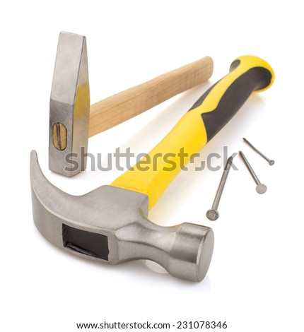 hammer tool isolated on white background - stock photo