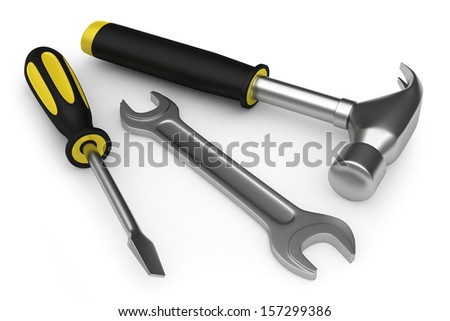 Hammer, wrench and screwdriver - stock photo