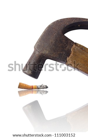 Hammered cigarette isolated on white, hate and anti concept. - stock photo