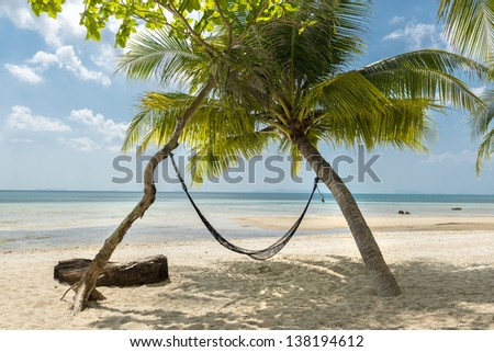 Hammock and palms on the beach resort at Koh Samui Island Thailand - stock photo