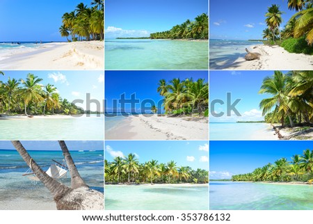 Hammock hanging between exotic trees and perfect tropical paradise beach - stock photo