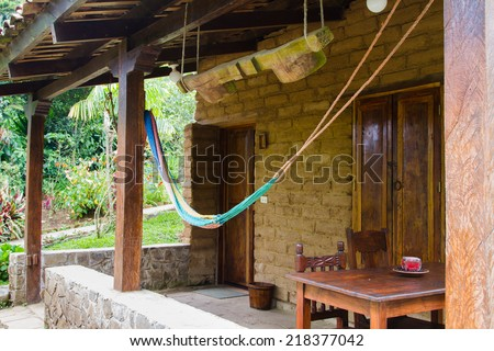 Hammock in the porch of a nice house in El Salvador, Central America - stock photo