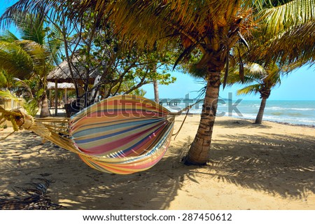 Hammock on a tropical beach catches the wind - stock photo