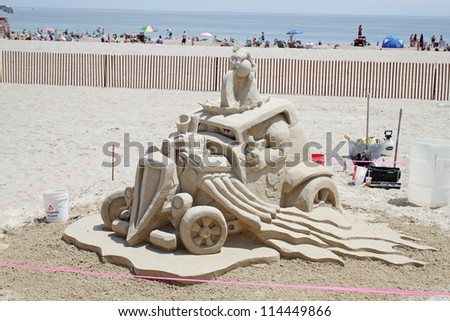 "HAMPTON BEACH, NH, USA - JUNE 22: ""Road Warrior"" by Attilio ""Steve"" Topazio at the Master Sand Sculpting Competition on June 22, 2012 in Hampton Beach, NH, USA - stock photo"