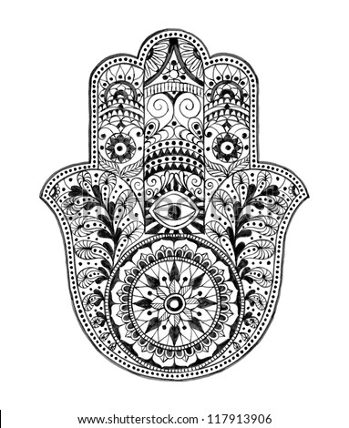 Hamsa Hand (Hand Drawn) - stock photo
