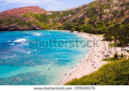 Hanauma  Bay in Hawaii - stock photo
