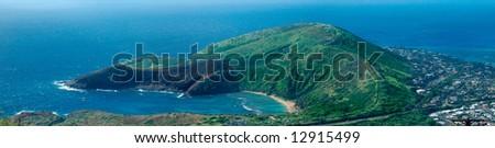 Hanauma Bay Natural Preserve aerial view, Oahu Island, Hawaii - stock photo