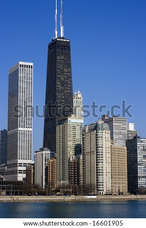 Hancock Building accros the water - Chicago, Il. - stock photo