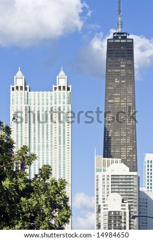 Hancock building seen from west side - Chicago, IL. - stock photo
