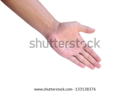 Hand a man person who is willing to make a deal - stock photo
