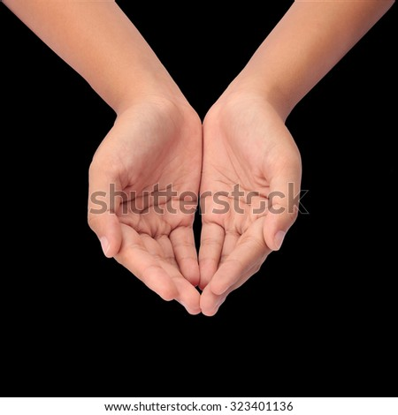 Hand acting isolated on black background with clipping path. - stock photo