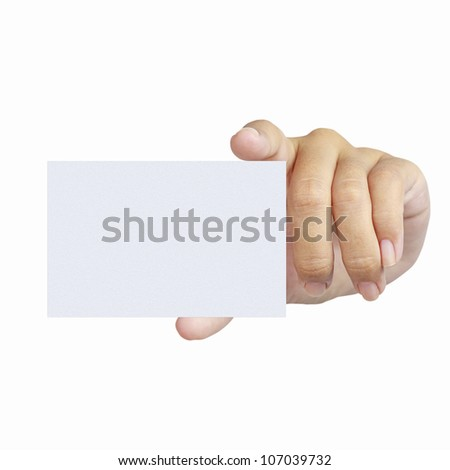 Hand and a card isolated on white - stock photo