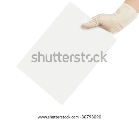 hand and a card isolated on white background