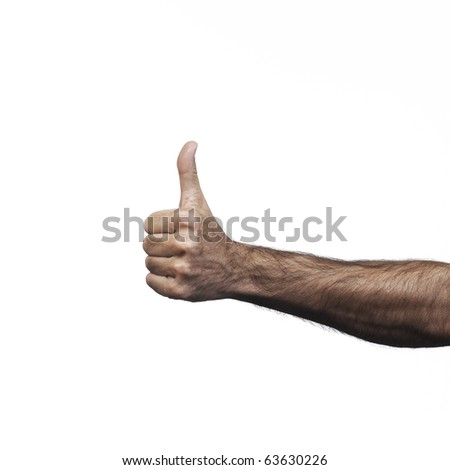 Hand and arm doing signs on white bottom