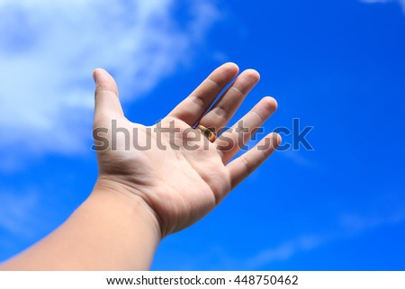 hand and background sky. used for background or material design.