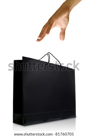 Hand and black glaze paper shopping bag, Isolated, Shopping concept