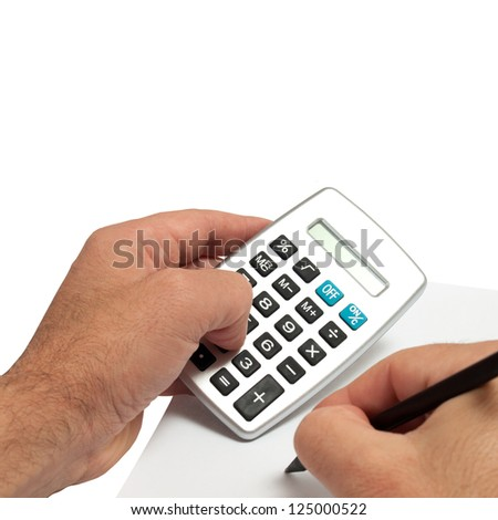 hand and calculator  isolated on white background - stock photo