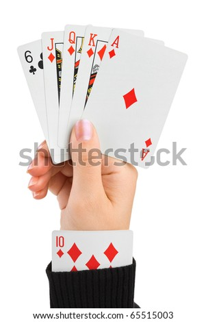 Hand and card in sleeve isolated on white background - stock photo