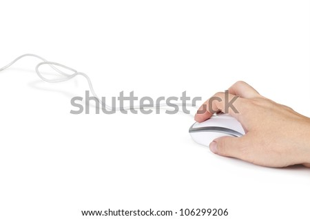 Hand and computer mouse isolated on white background - stock photo