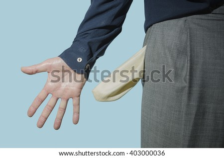 Hand and empty pocket