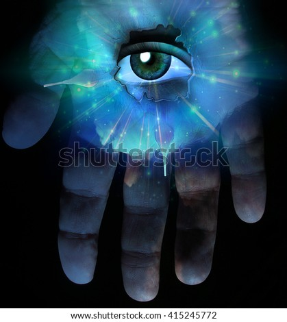 Hand and eye 3D Render - stock photo