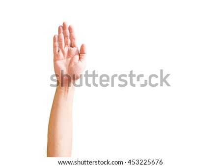 Hand and finger of business man, show number five, right hand, fifth sign, isolated on white background