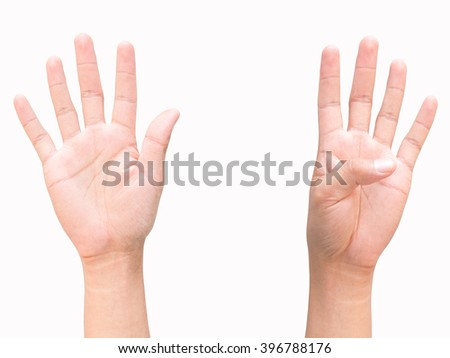 hand and finger of business man, show number nine sign, isolated on white background - stock photo