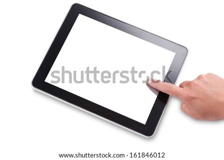 Hand and finger touching the screen of a tablet computer, isolated on white with a clipping path for outline and screen. Add your own message or image. - stock photo