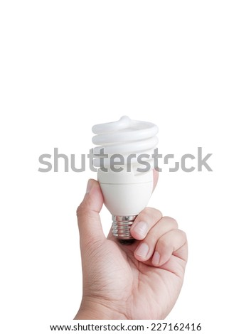 Hand and fluorescent lamp isolated