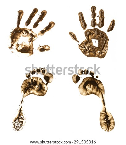 hand and foot print on  white background - stock photo