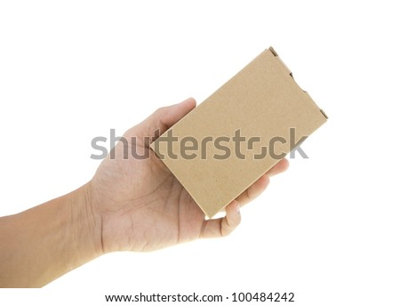hand and gift box over white background - stock photo