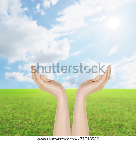 Hand and Grass fields and sun sky - stock photo