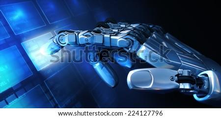 Hand and Menu - stock photo
